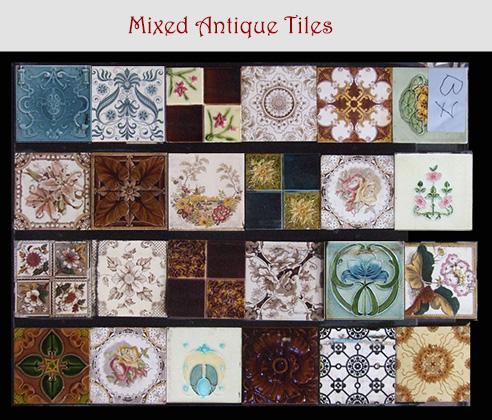 Mixed Ornate Antique Tiles Fireplace Tile Sets